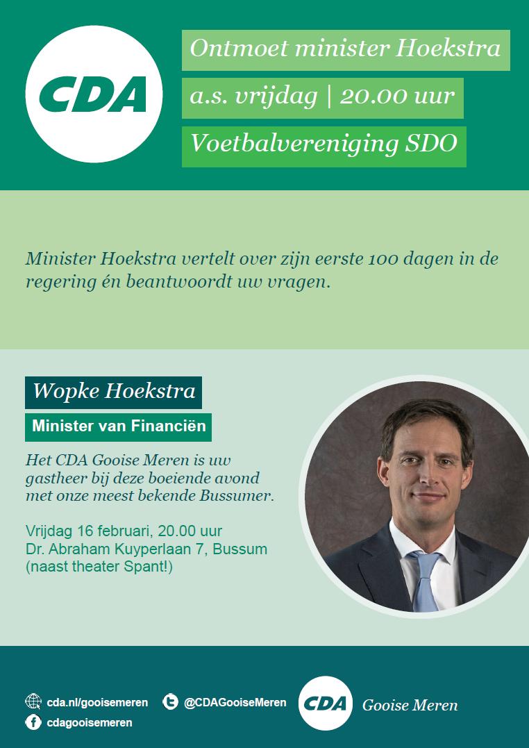Wopke Hoekstra over zijn eerste 100 dagen 16 februari 2018 | Bussum